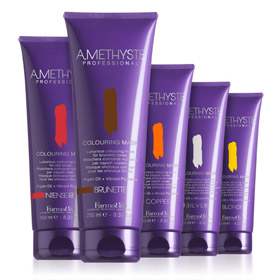 COLOURING MASK COLLECTION  Rich colouring mask, formulated with high performing direct pigments, revives and intensifies colour in few minutes.  Enriched  with Argan Oil for extreme nourishing and brilliance, leaves hair  extraordinary luminous and soft. Amethyste Colouring Mask is ideal to:  • revive and intensify cosmetic colours in-between salon visits;  • create temporary tones in natural hair;  • neutralize unattractive yellow undertones and enhance very light blonde highlights: Amethyste Colouring Mask SILVER.   FARMAVITA.